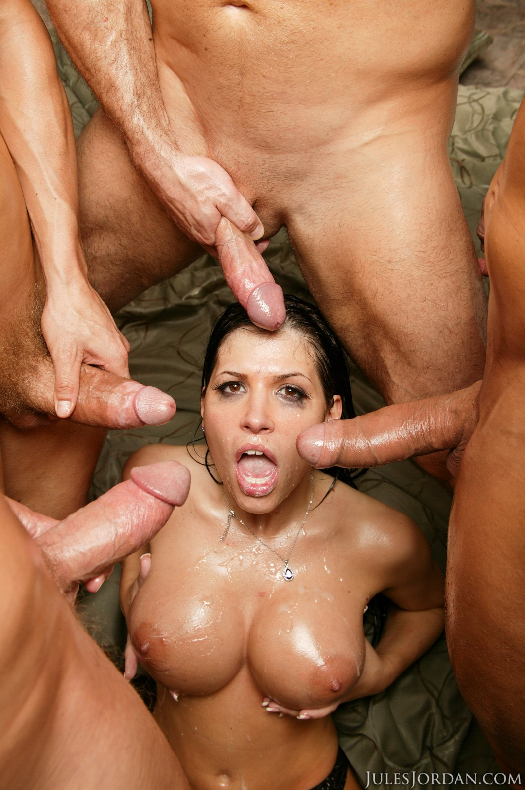 Rebeca Linares Oiled Up For A Gang Bang Featuring Rebeca Linares